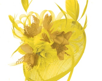Caprilite Yellow and Mustard Yellow Sinamay Disc Saucer Fascinator Hat for Women  Weddings Headband a3d2b3036b1b