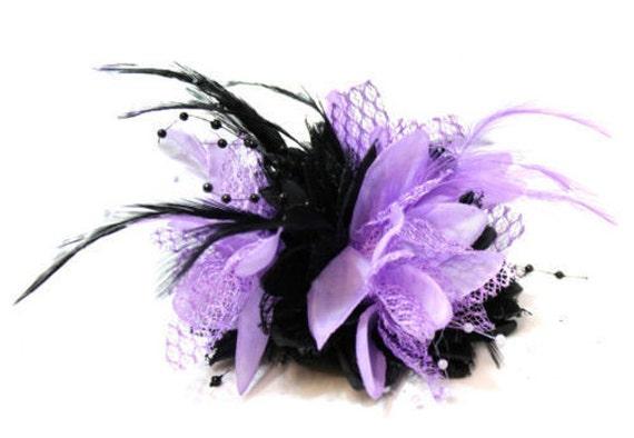 Caprilite Black and Purple Fascinator Black Headband Clip Comb  16954da1db2