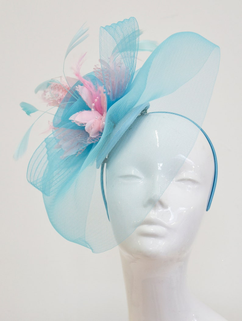 3f04a3c8 Big Light Turquoise Blue and Baby Pink Fascinator Hat Veil Net   Etsy