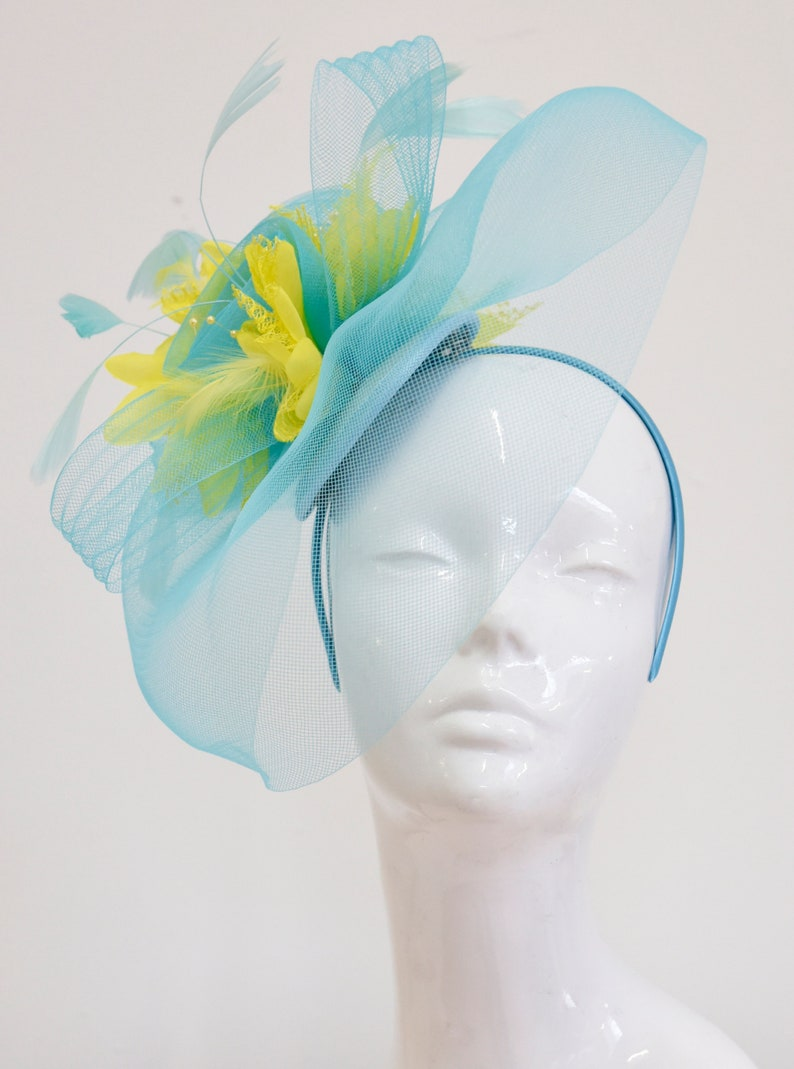 e2ff3fe6be018 Big Light Turquoise Blue and Yellow Fascinator Hat Veil Net