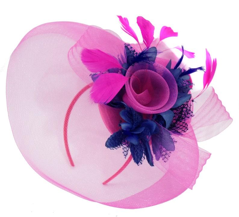 f5e856ebffda8 Caprilite Fuchsia Hot Pink and Navy Blue Fascinator Hat Veil Net Hair Clip  Ascot Derby Races Wedding Headband Feather Flower