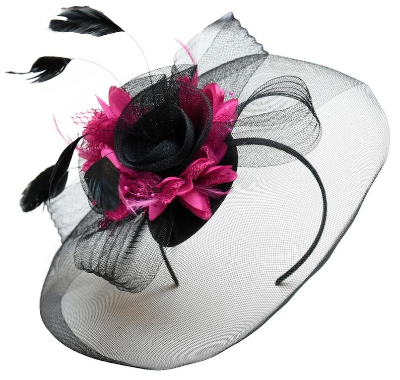 bc4b2e66 Caprilite Big Black and Fuchsia Hot Pink Fascinator Hat Veil | Etsy