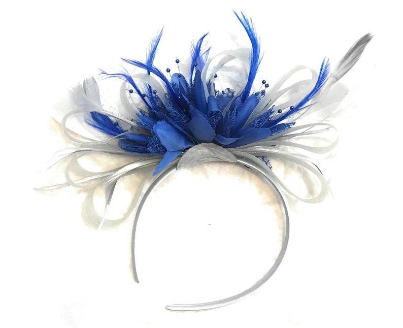 4574a6ae75a81 Caprilite Grey Silver & Royal Blue Fascinator on Headband image 0