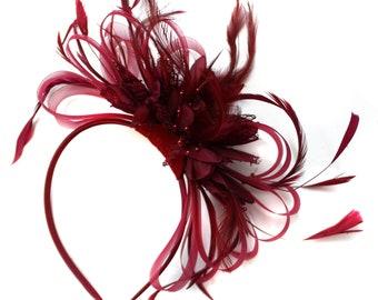 Caprilite Burgundy Wine Dark Red Fascinator Headband Alice Band Wedding Ascot Races Loop Net