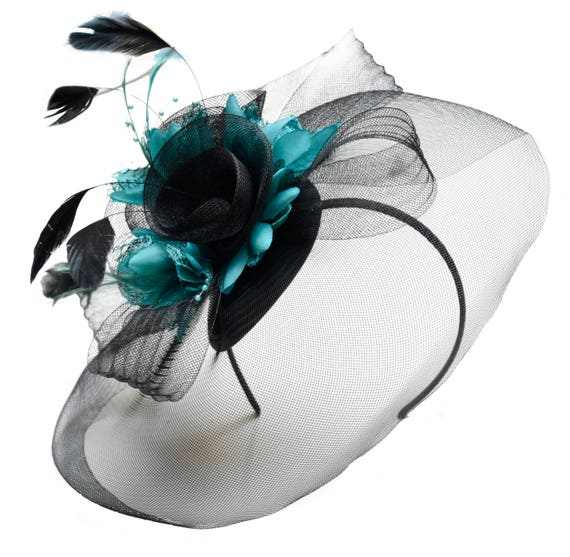 0f5a1f5b37976 Caprilite Big Black and Turquoise Fascinator Hat Veil Net Hair