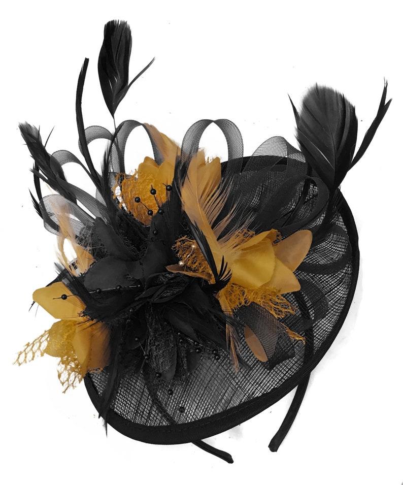 639230876b9c9 Caprilite Black and Mustard Sinamay Disc Saucer Fascinator Hat