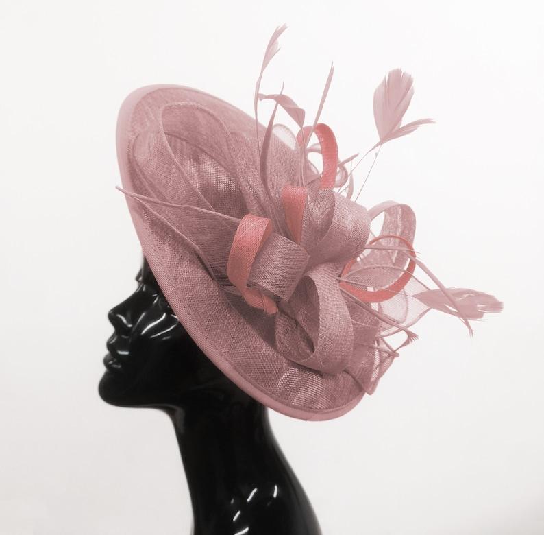 b97023bfb4d32 Caprilite Big Saucer Sinamay Dusty Pink Colour Fascinator On | Etsy