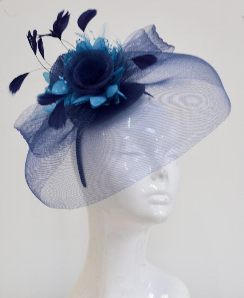 90695518c73b1 Caprilite Big Navy and Aqua Turquoise Fascinator Hat Veil Net Hair Clip  Ascot Derby Races Wedding Headband Feather Flower