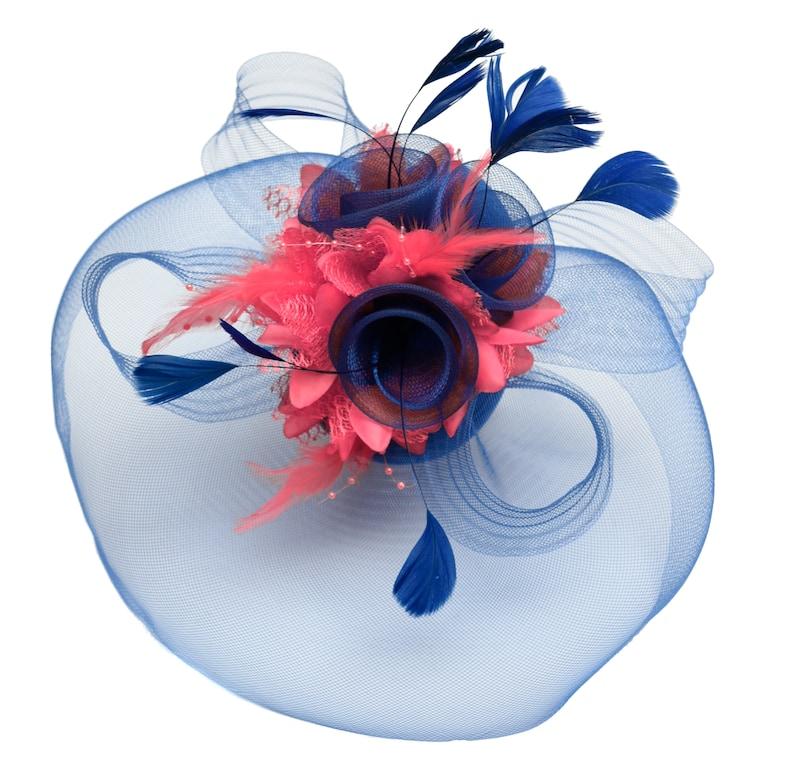 b1957031d9287 Caprilite Big Royal Blue and Coral Fascinator Hat Veil Net   Etsy