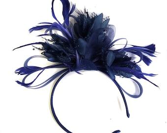 Caprilite Navy Blue Fascinator on Headband AliceBand UK Wedding Ascot Races Loop