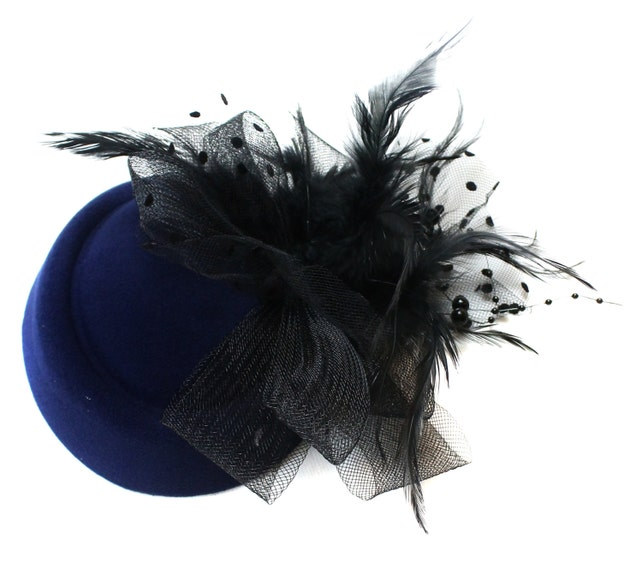 dea8f55f332 Navy Blue   Black Pill-Box Hat Feathers Fascinator Hatinator on Clip for  Ascot Races Weddings