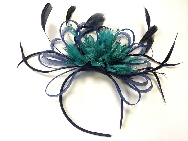 f5b9dc839ad55 Caprilite Navy Blue Hoop   Turquoise Teal Feathers Fascinator