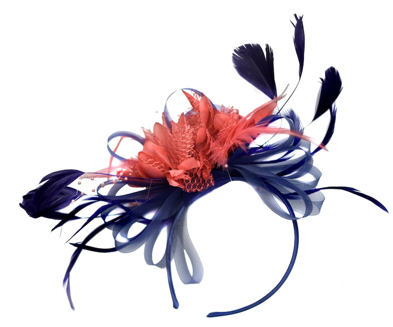 990f4641fc683 Caprilite Navy and Coral Fascinator on Headband Alice Band UK