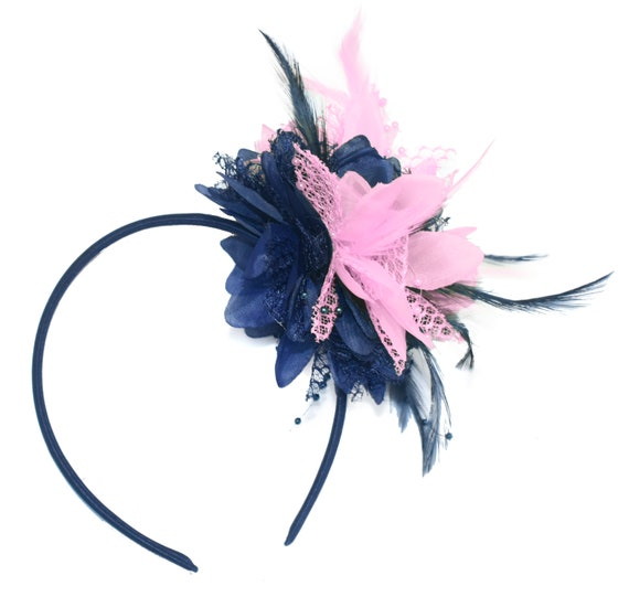 Caprilite Navy and Baby Pink Fascinator Headband Hair Band  01b94ea10c8
