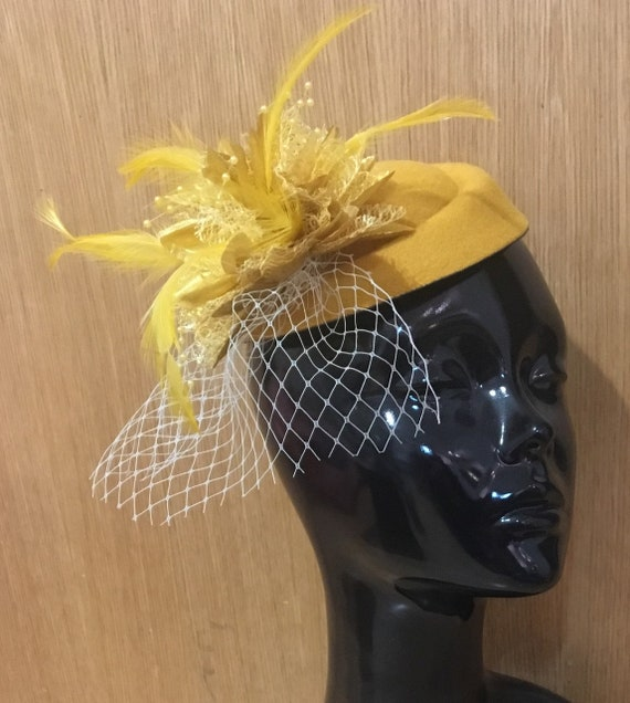 Mustard Yellow and Gold Fascinator Hat Pill Box Flower White  99cbfd4e0758