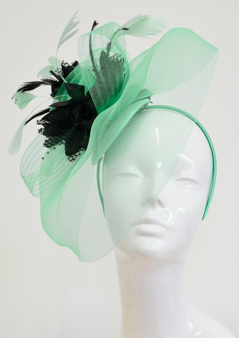 b7f57b7a273a4 Caprilite Big Mint Green and Black Fascinator Hat Veil Net Ascot Derby  Races Wedding Headband Feather