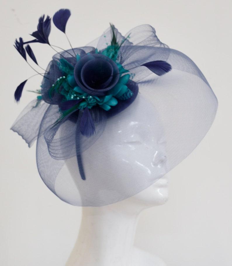 8b7ad05b4eebb Caprilite Big Navy and Turquoise Teal Fascinator Hat Veil Net