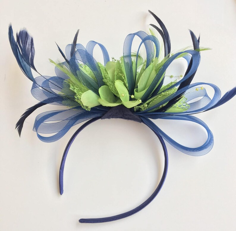 21618b8b642ee Caprilite Navy Blue & Lime Green Feathers Fascinator On Headband