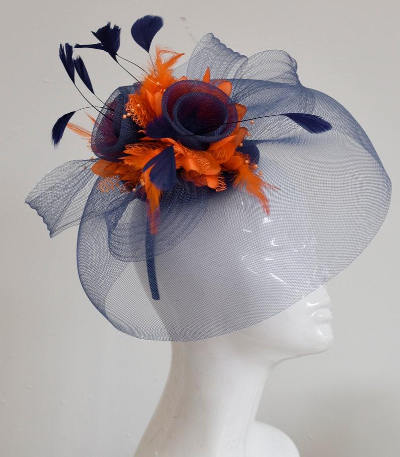 dc029c14a65b2 Caprilite Big Navy and Orange Fascinator Hat Veil Net Hair Clip Ascot Derby  Races Wedding Headband Feather Flower