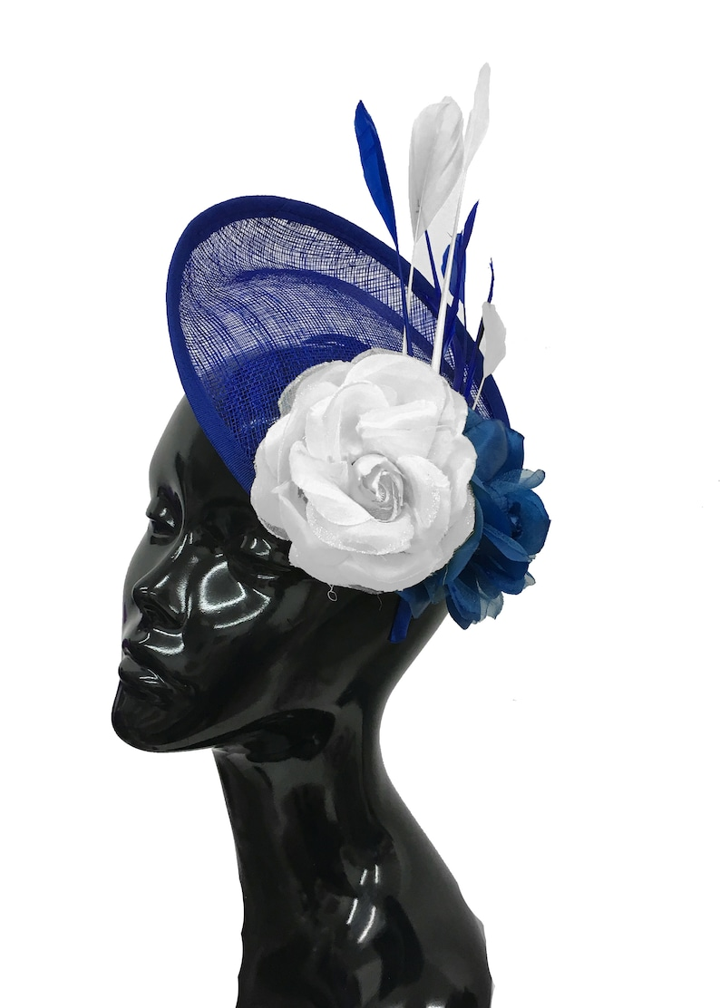 f0d444a25a6cd Caprilite Sinamay Rose Blue and White Disc Saucer Hatinator