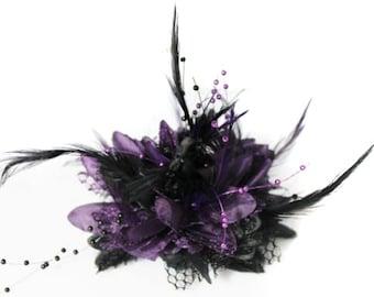 Caprilite Black and Purple Fascinator on Clip Flower Corsage