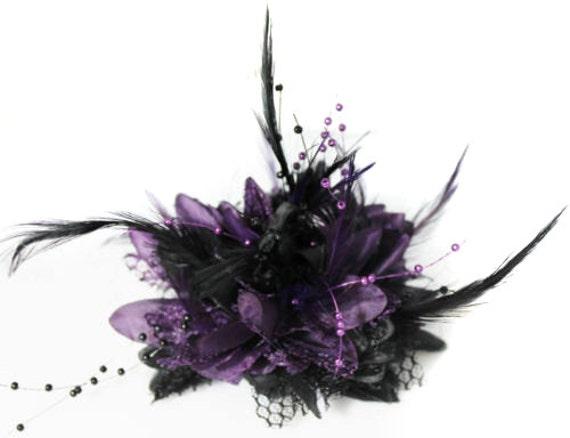 Caprilite Black and Purple Fascinator on Headband Flower  6c35e006554