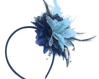 Navy and Baby Blue Fascinator Headband Hair Band Flower Corsage