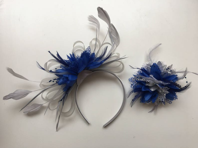 Navy Blue Royal Blue and Light Blue Fascinator Headband UK Wedding Ascot Races