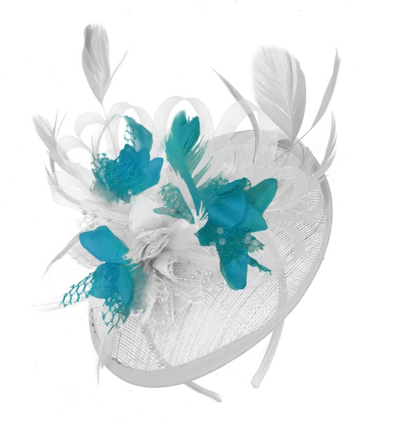 Caprilite White and Teal Sinamay Disc Saucer Fascinator Hat  c1d02c69beb0