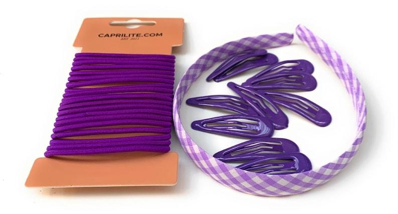 Mega School Hair Accessories Bundle Set Gingham Checked Headband Clips Bobbles Elastics Purple