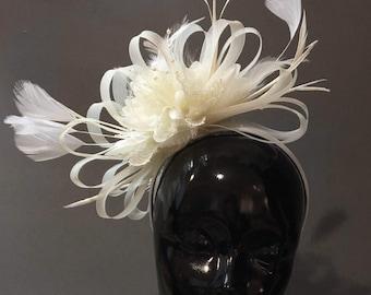Caprilite Cream Ivory Fascinator on Headband AliceBand UK Wedding Ascot Races Loop