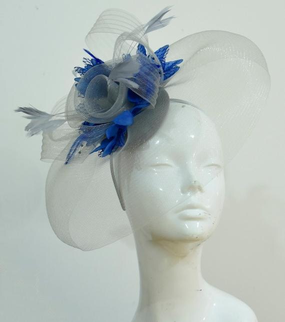 Caprilite Grey Silver and Royal Blue Fascinator on Headband  d3248845f41