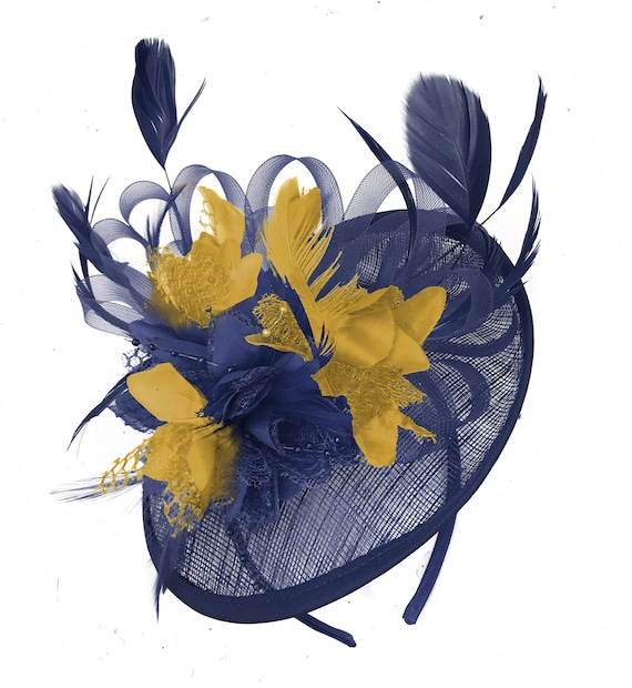 566a82c1bf7ad Sinamay Navy Blue and Mustard Yellow Disc Saucer Fascinator