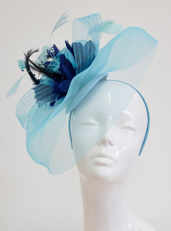 Big Light Turquoise Blue and Navy Fascinator Hat Veil Net Hair  1da216c6315