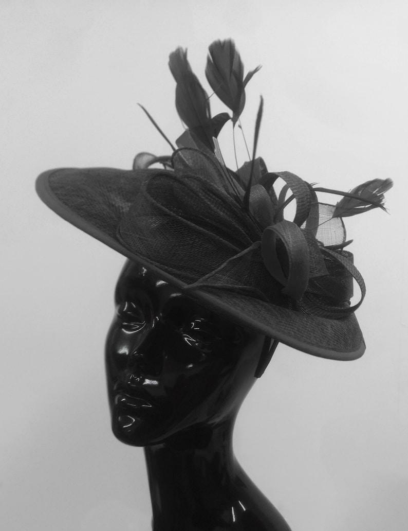 f50a0b8b77a58 Caprilite Big Saucer Sinamay Black Mixed Colour Fascinator On | Etsy
