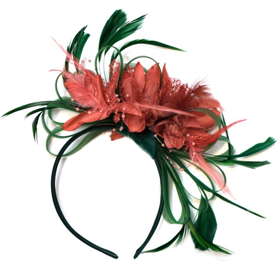Colour Crush Emerald Green With Pink: Emerald Green And Coral Pink Fascinator On Headband Alice
