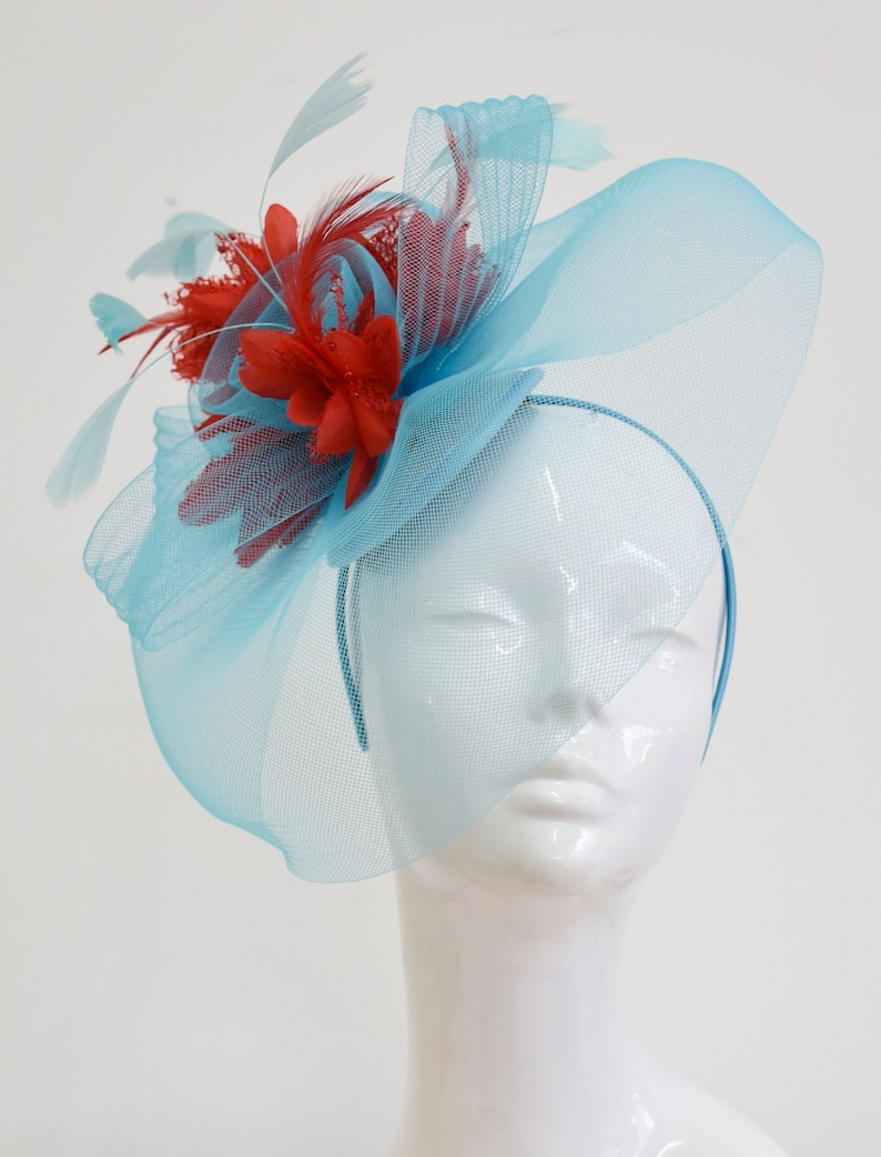 e0bcb4cd01acd Big Light Turquoise Blue and Red Fascinator Hat Veil Net Hair
