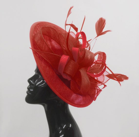 NEW Red White Fascinator Saucer Wedding Hat Hatinator Races Disc Oval Rouge