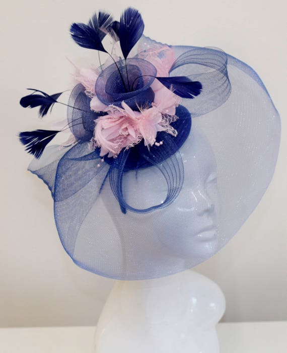 Big Navy and Baby Pink Fascinator Hat Veil Net Hair Clip Ascot  59677b5a16d