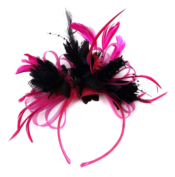 All Black Net /& Feather Fascinator hat on Aliceband Wedding Races