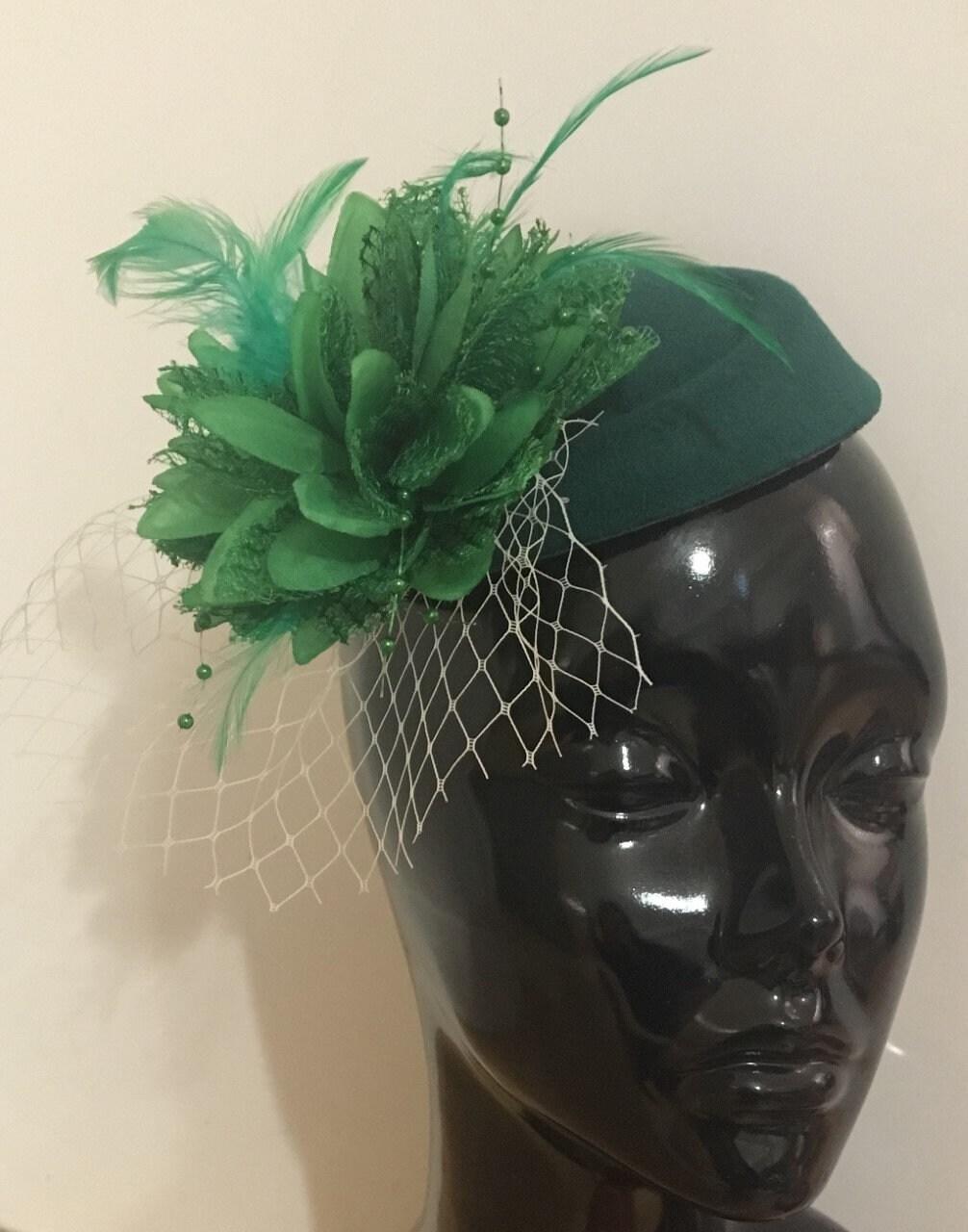 30bf0cd2c6d4c Caprilite Forest Green Grass Green Fascinator Hat Pill Box