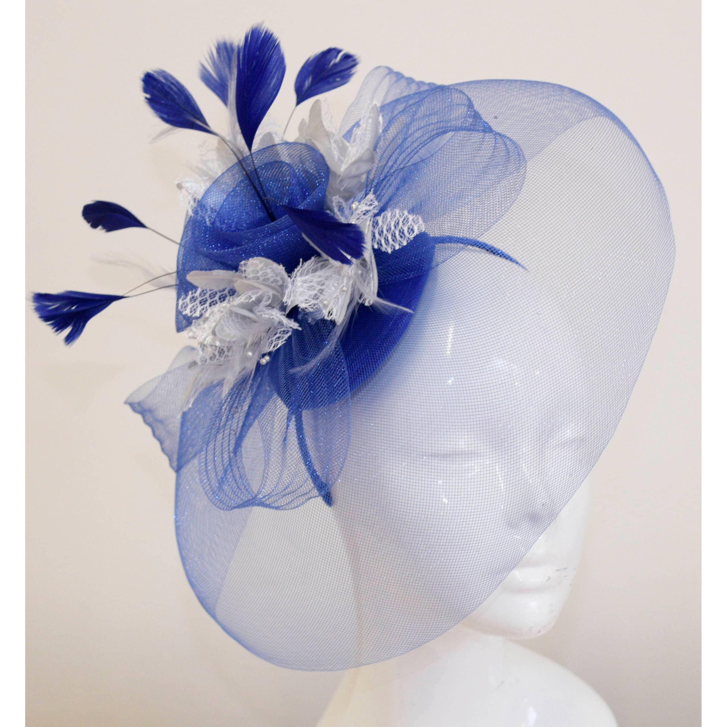 Caprilite Big Royal Blue and Silver Fascinator Hat Veil Net Hair Clip Ascot  Derby Races Wedding Headband Feather Flower 167ebae1f12