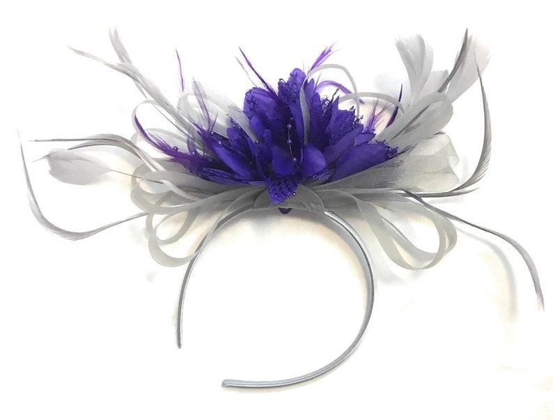 a034e4db60815 Caprilite Grey Silver & Cadbury Purple Fascinator on Headband   Etsy