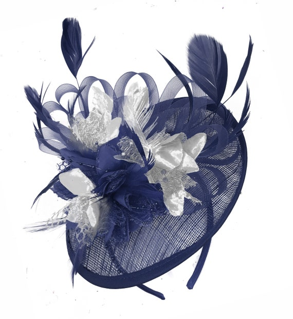 Sinamay Navy Blue and Silver Disc Saucer Fascinator Hat for  ae4e510b118