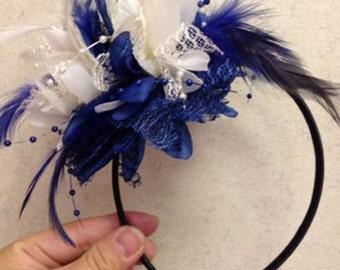 Cream and Royal Blue Fascinator Black Headband Clip Comb Flower Corsage