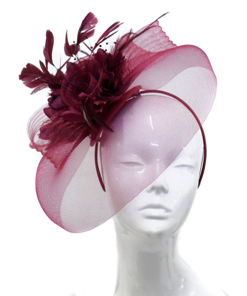 9868e734 Caprilite Big Burgundy Fascinator Hat Veil Net Hair Clip Ascot | Etsy