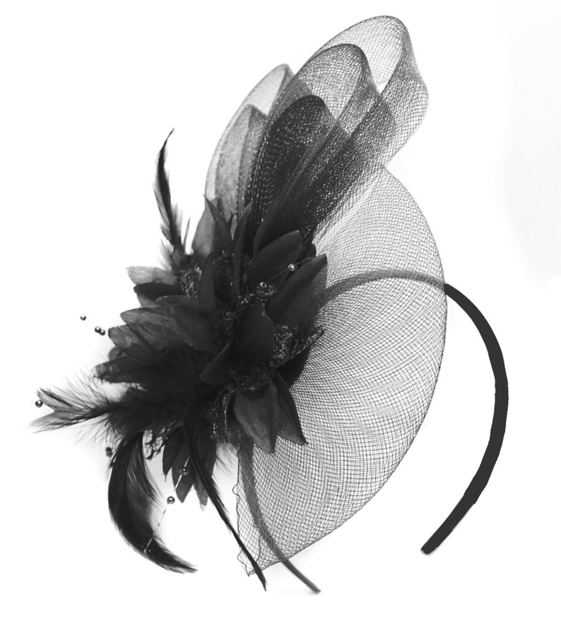 28cde0023da8b Caprilite Black Flower Veil Feathers Fascinator On Headband