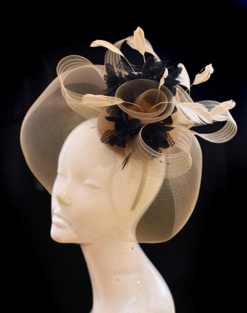 5756ade86b7d6 Caprilite Beige Camel and Black Fascinator Hat Veil Net Hair