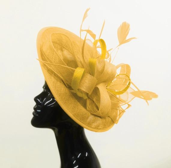 New Burnt orange Sinamay Bow trim Hatinator.hat.Large saucer disc Wedding.races.