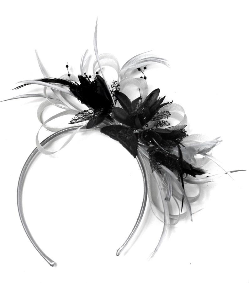 3b6979836bc9f Caprilite Grey Silver & Black Fascinator on Headband AliceBand   Etsy